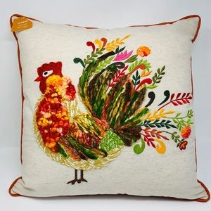 "Other - NWT Crewel Embroidered Fall Turkey 18"" x 18 Pillow"